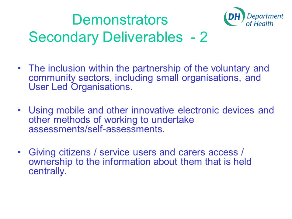 Demonstrators Secondary Deliverables - 2