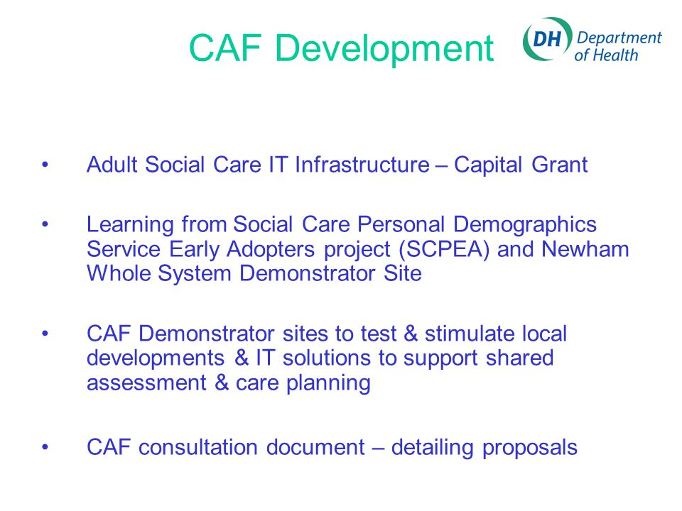 CAF Development Adult Social Care IT Infrastructure – Capital Grant