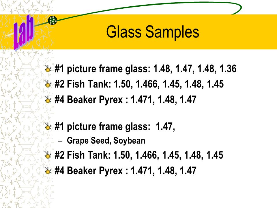 Glass Samples Lab #1 picture frame glass: 1.48, 1.47, 1.48, 1.36