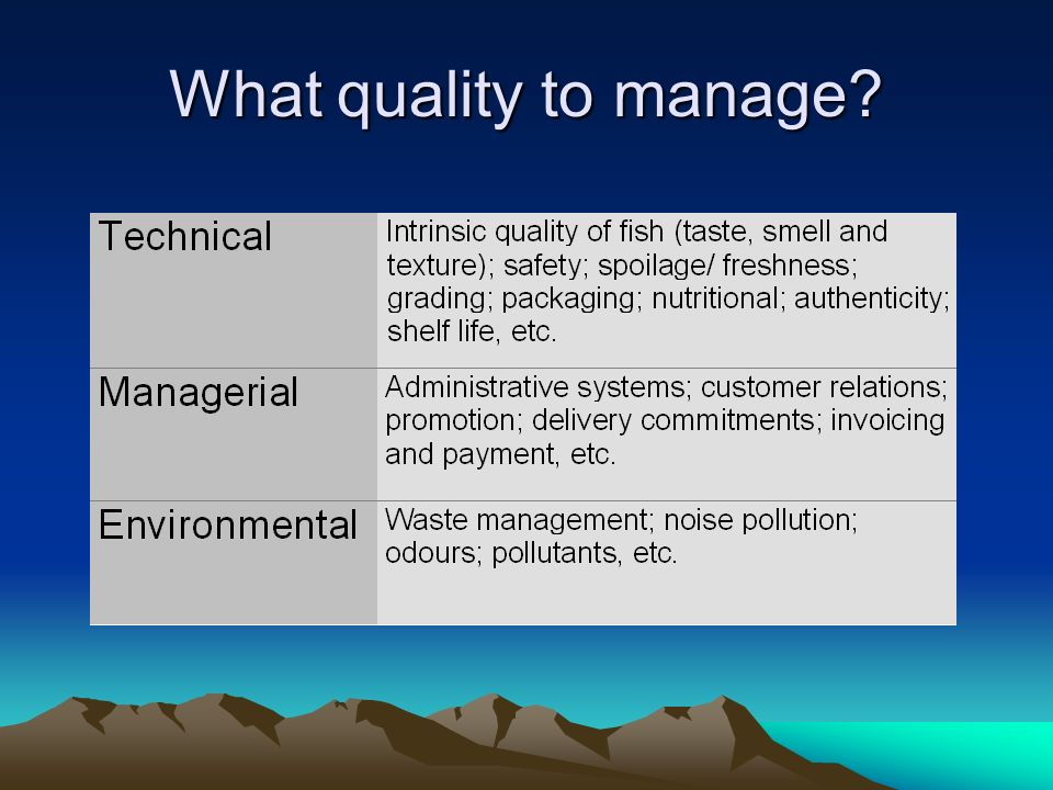 What quality to manage