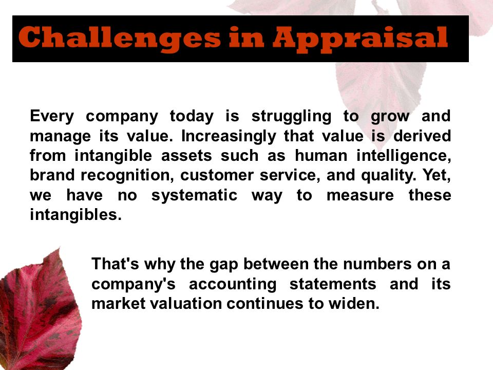 Challenges in Appraisal