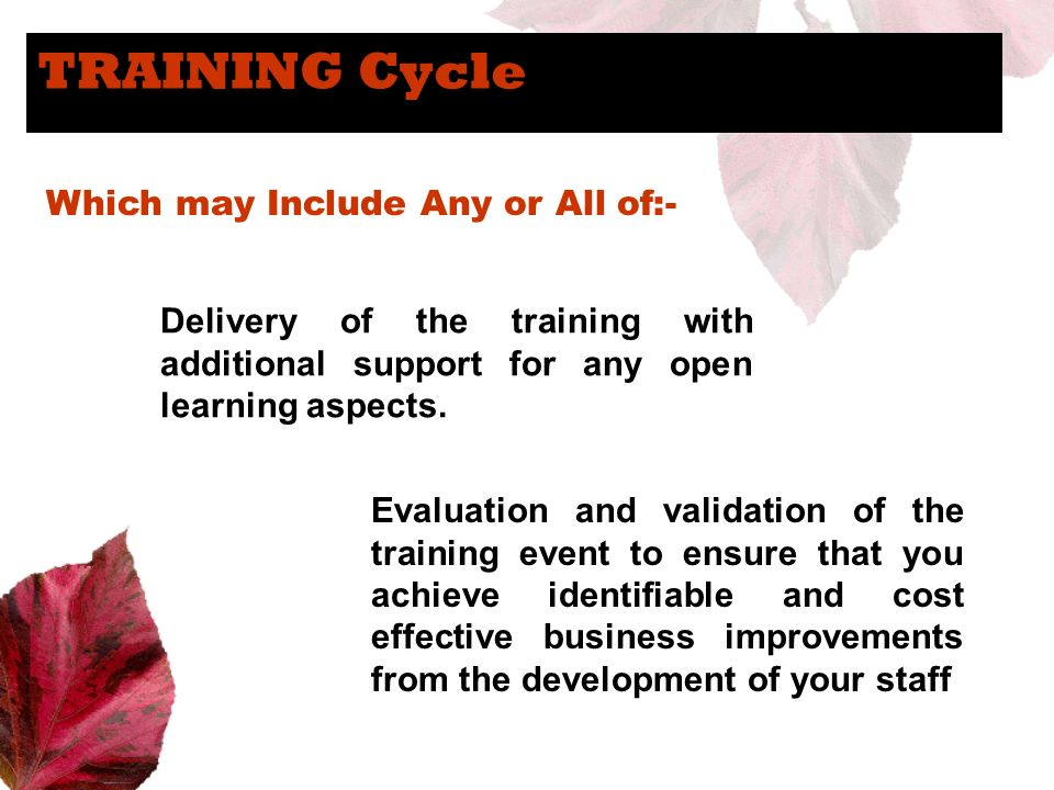 TRAINING Cycle Which may Include Any or All of:-
