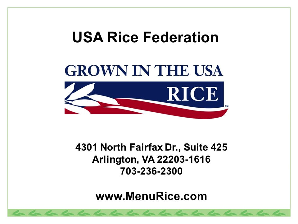 USA Rice Federation North Fairfax Dr., Suite 425