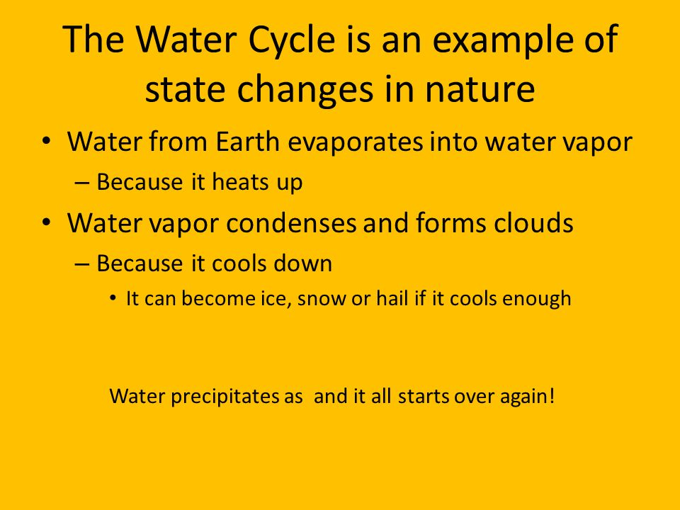 The Water Cycle is an example of state changes in nature