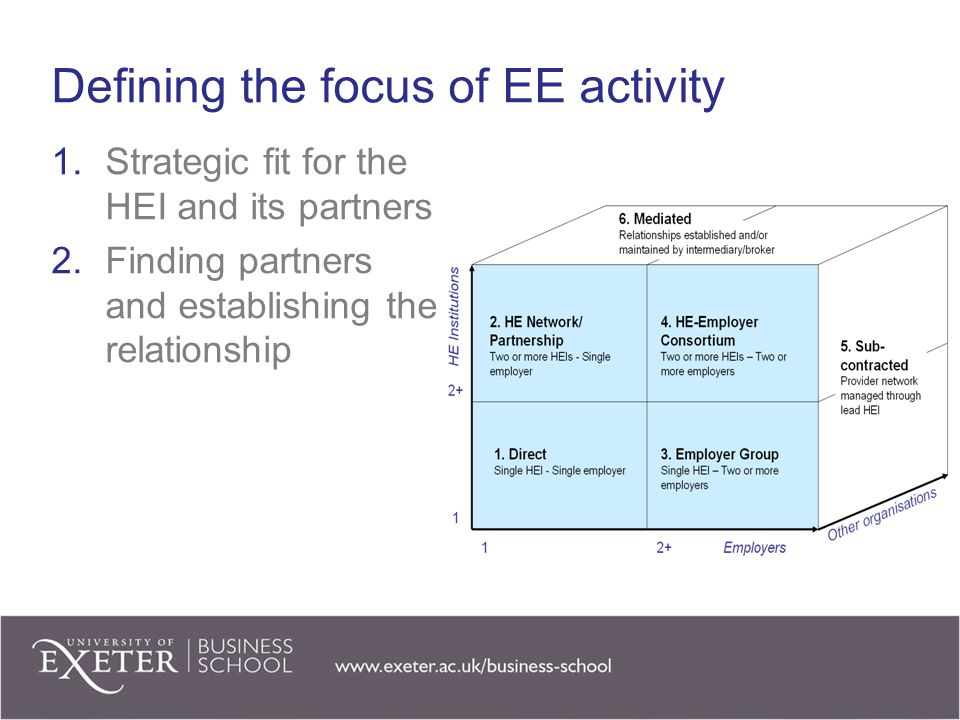 Defining the focus of EE activity