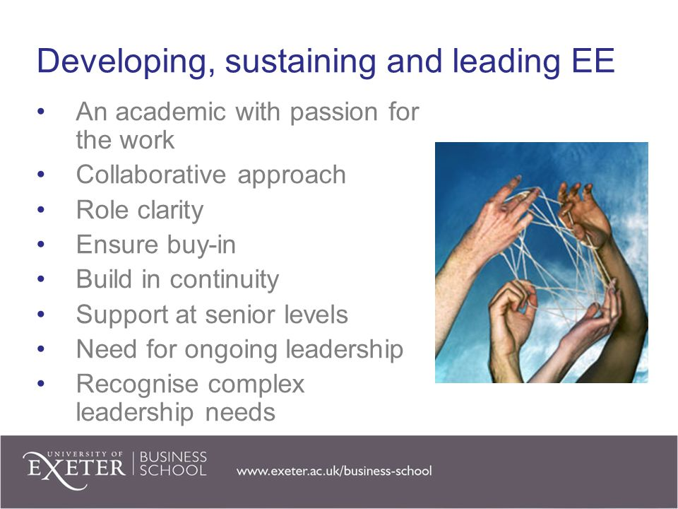 Developing, sustaining and leading EE