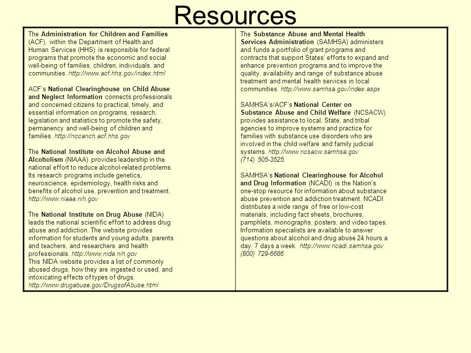 Resources The Administration for Children and Families