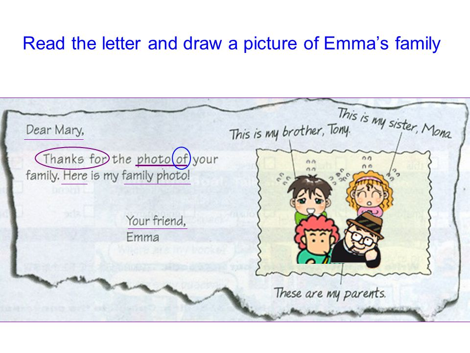 Read the letter and draw a picture of Emma's family