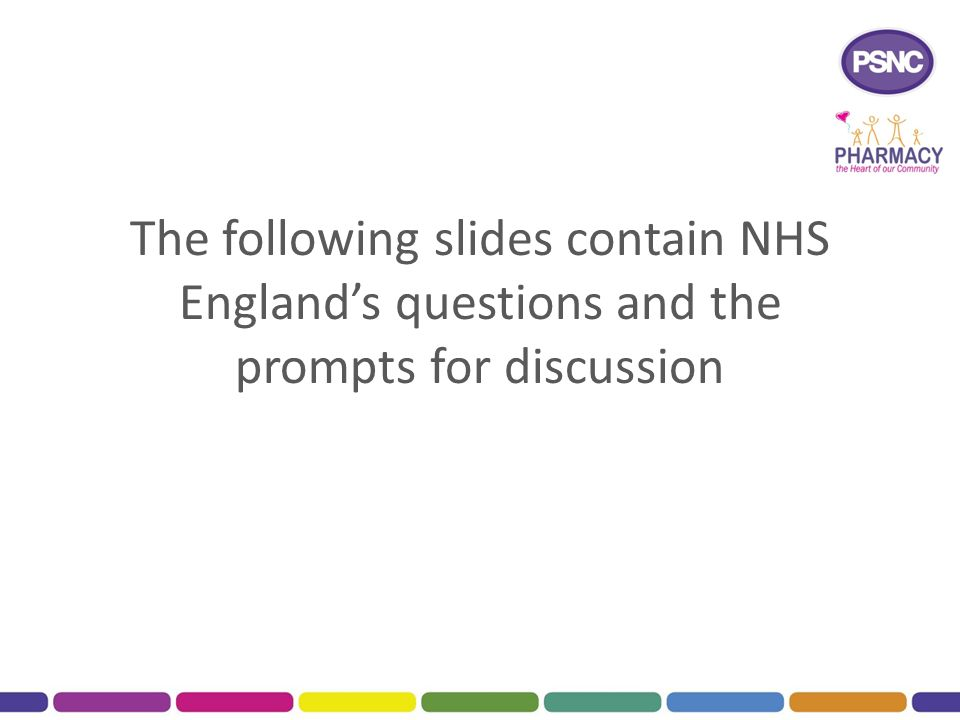 The following slides contain NHS England's questions and the prompts for discussion