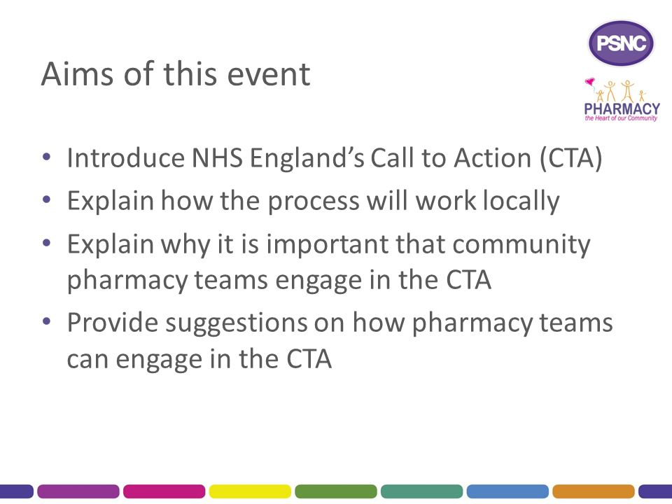 Aims of this event Introduce NHS England's Call to Action (CTA)