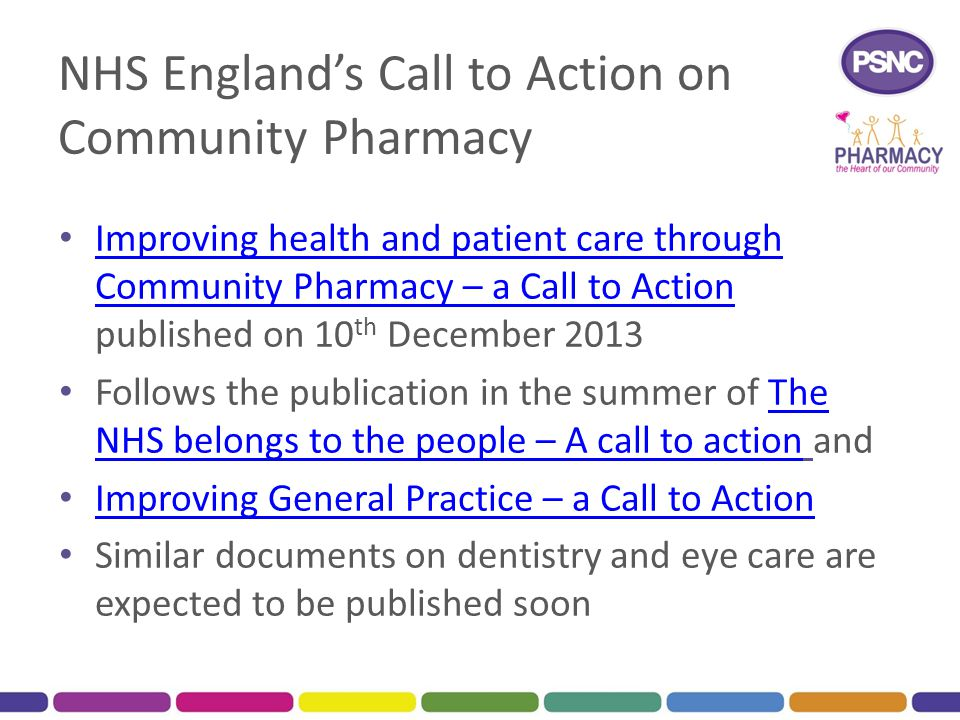 NHS England's Call to Action on Community Pharmacy