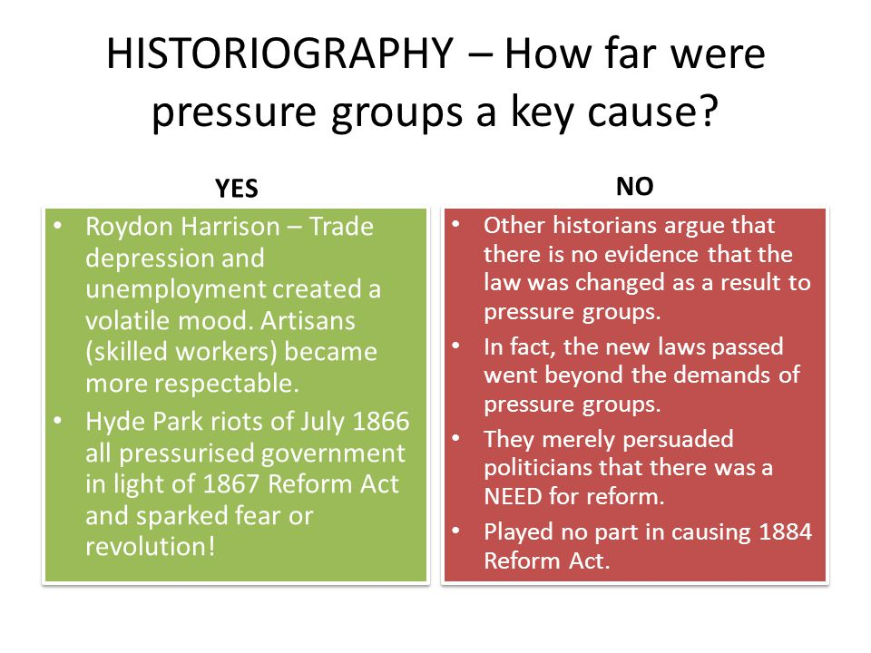 HISTORIOGRAPHY – How far were pressure groups a key cause