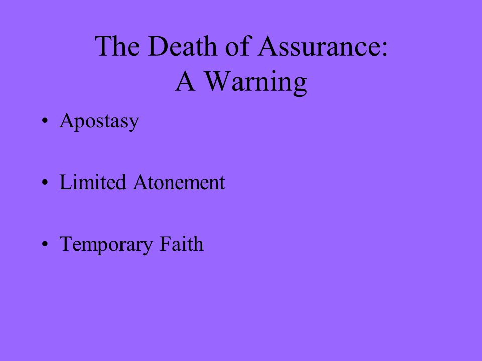 The Death of Assurance: A Warning