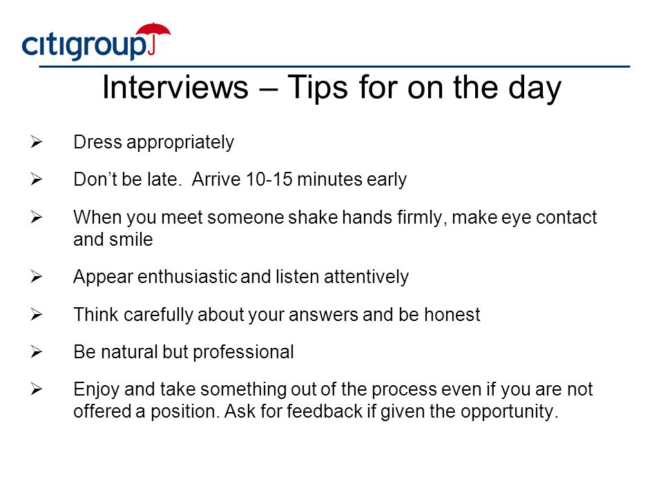 Interviews – Tips for on the day