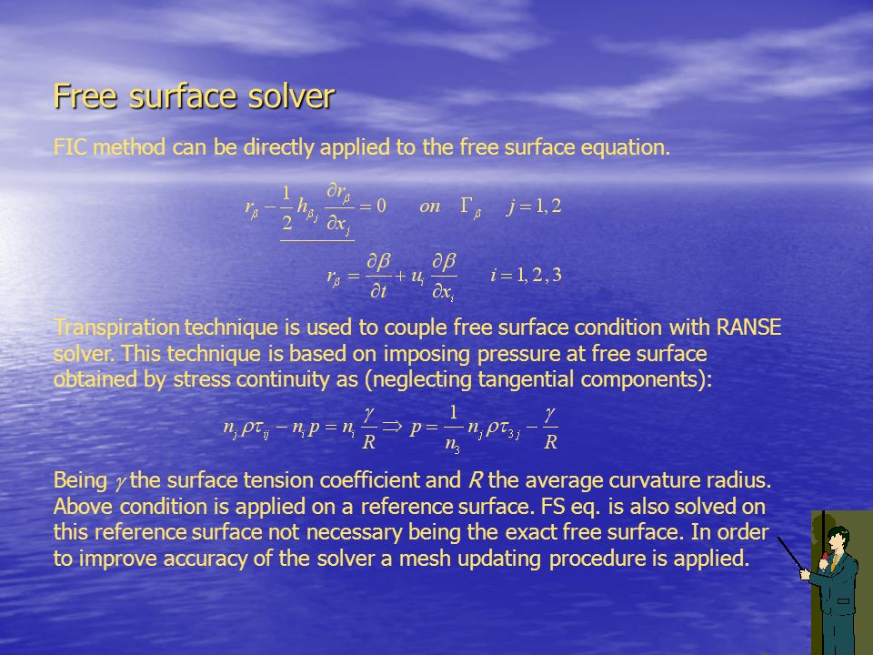 Free surface solver FIC method can be directly applied to the free surface equation.