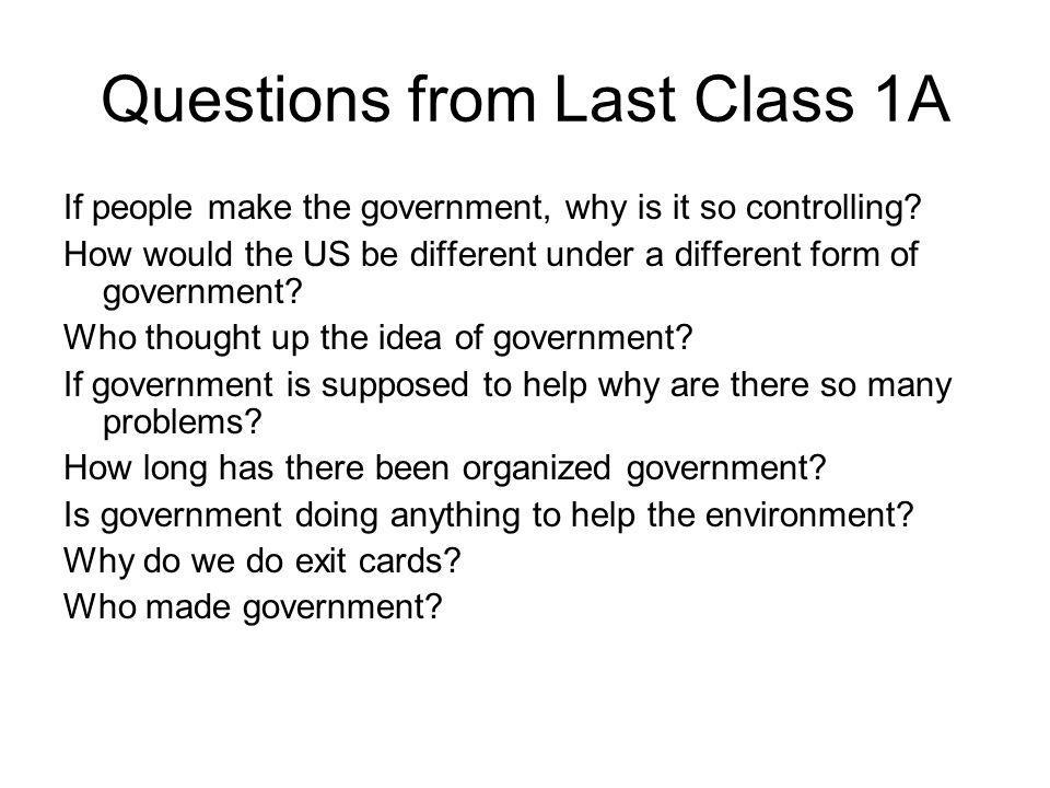 Questions from Last Class 1A