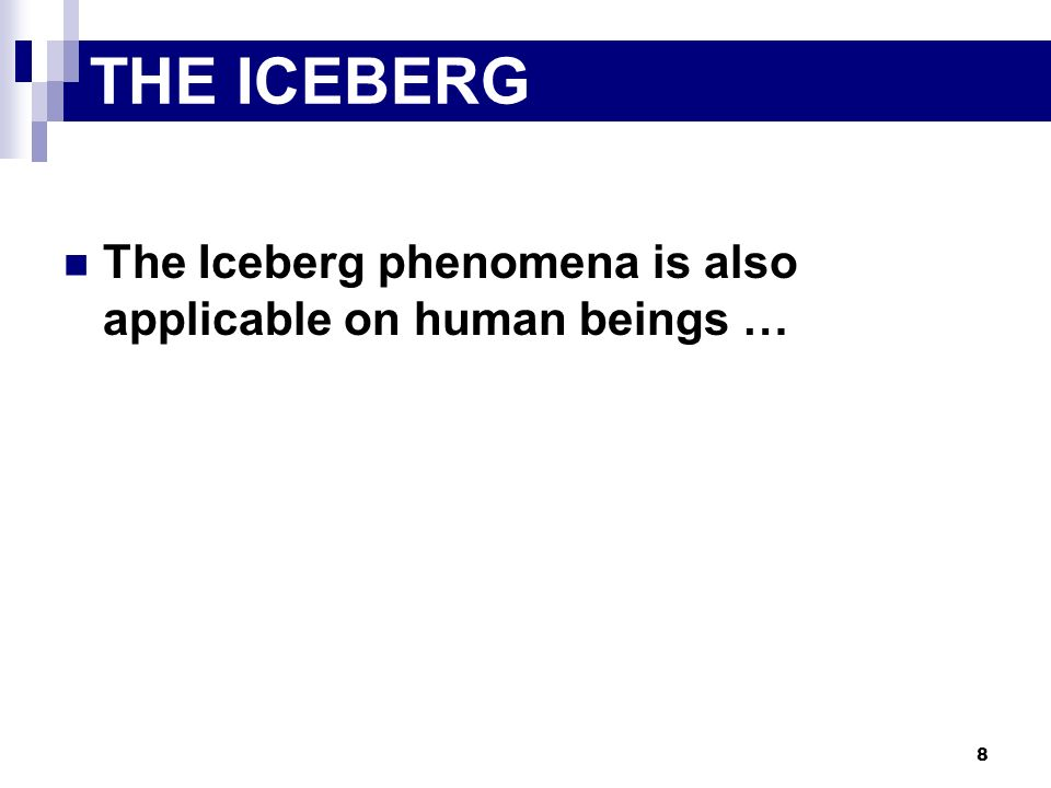 THE ICEBERG The Iceberg phenomena is also applicable on human beings …