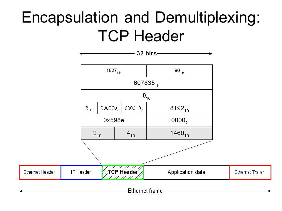 Encapsulation and Demultiplexing: TCP Header