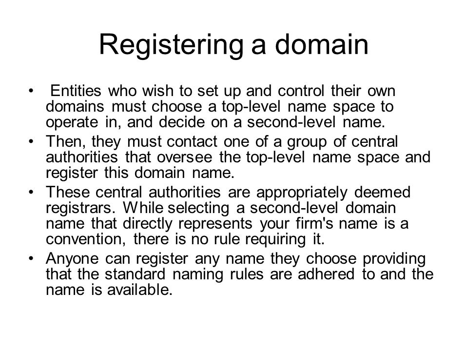 Registering a domain