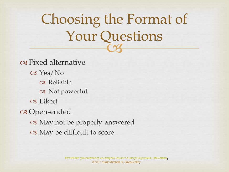 Choosing the Format of Your Questions