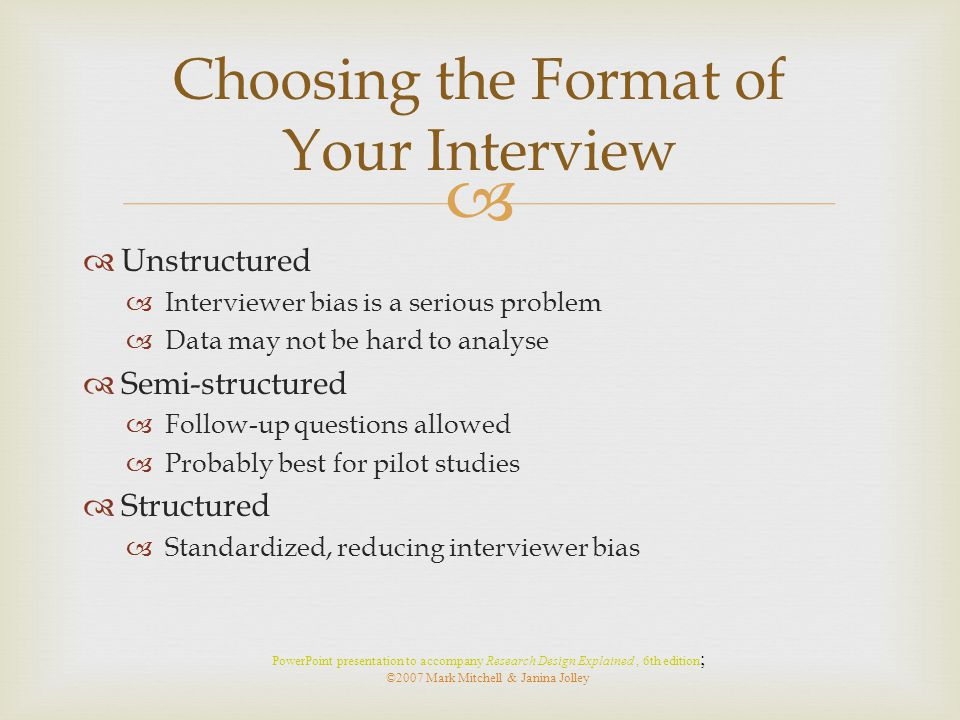 Choosing the Format of Your Interview