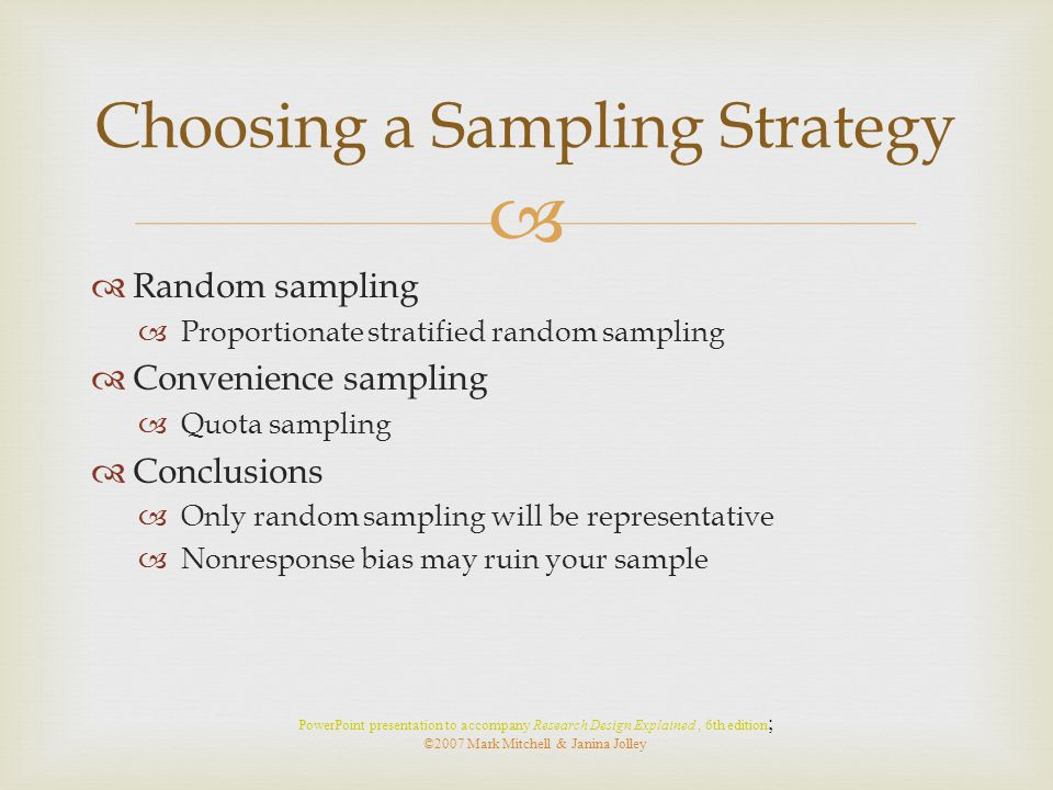 Choosing a Sampling Strategy