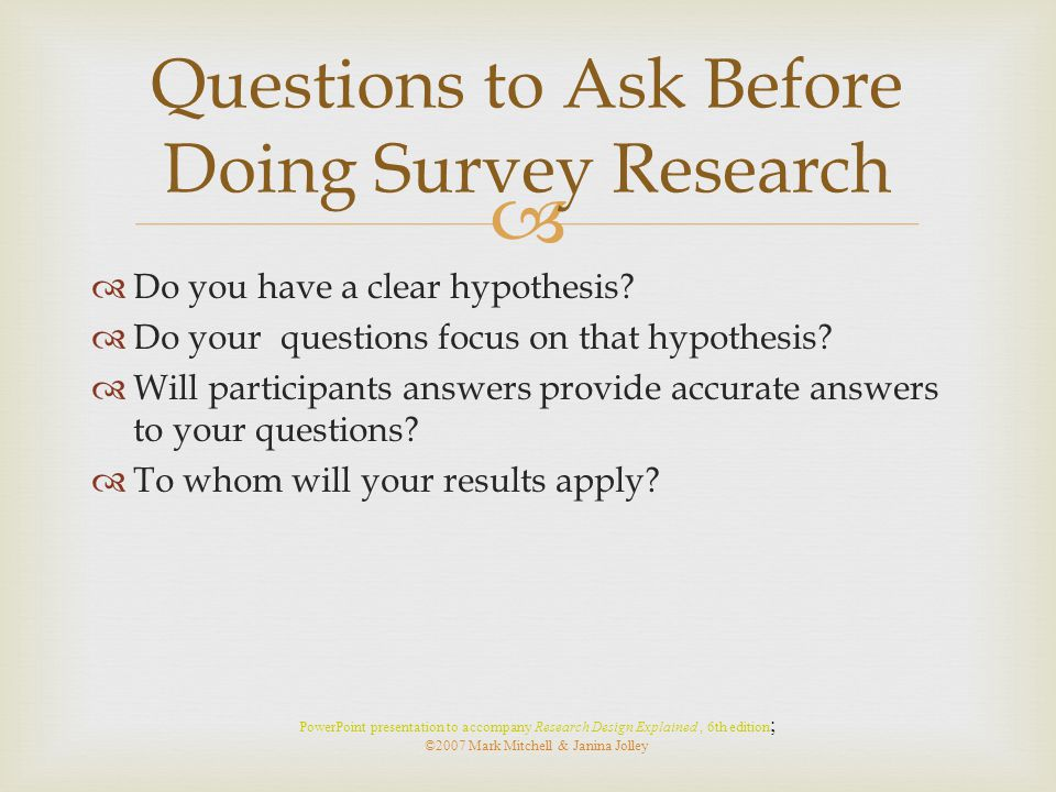 Questions to Ask Before Doing Survey Research