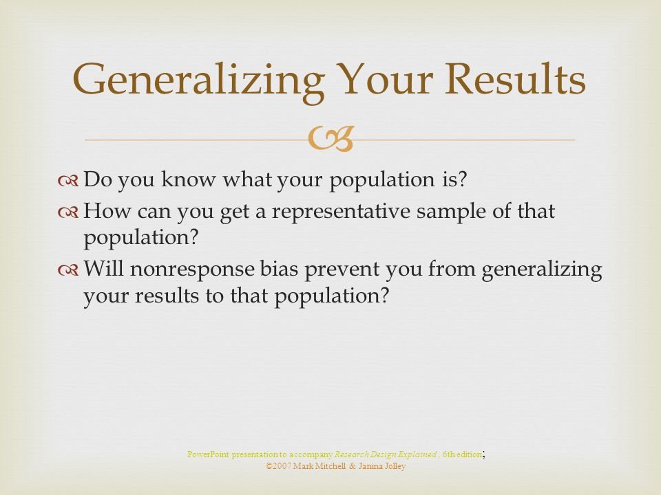 Generalizing Your Results
