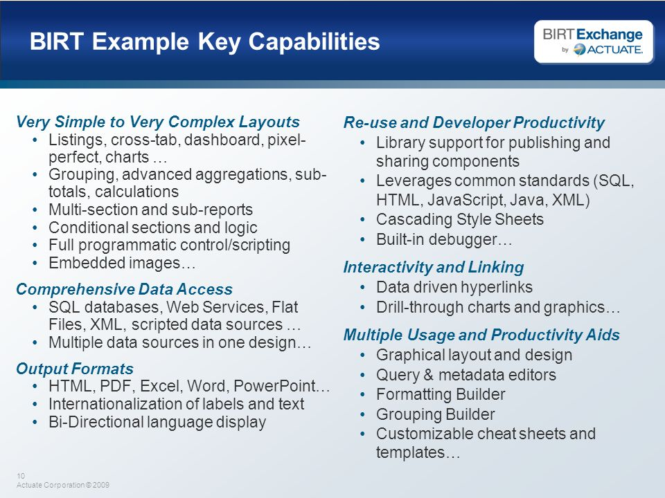 BIRT Example Key Capabilities