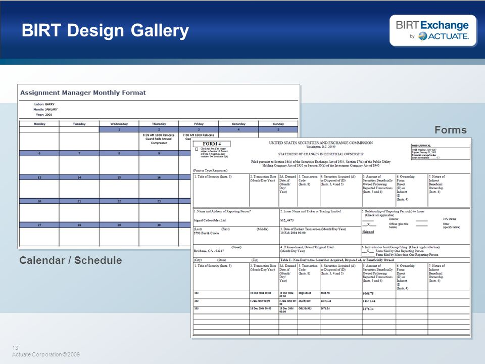 BIRT Design Gallery Forms Calendar / Schedule