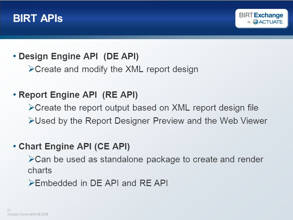 BIRT APIs Design Engine API (DE API)