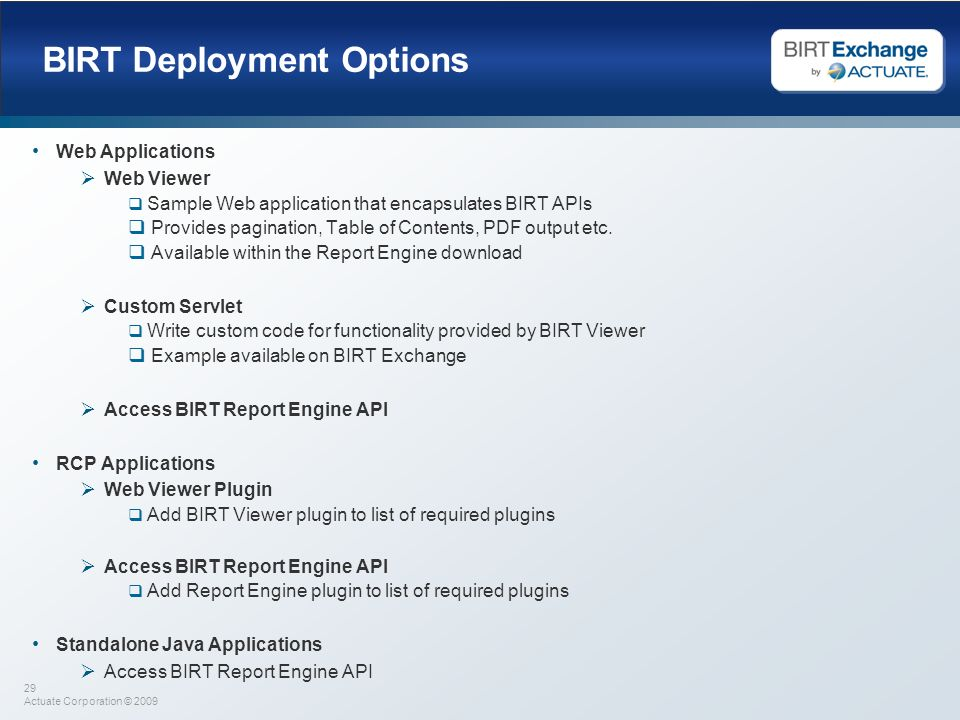BIRT Deployment Options
