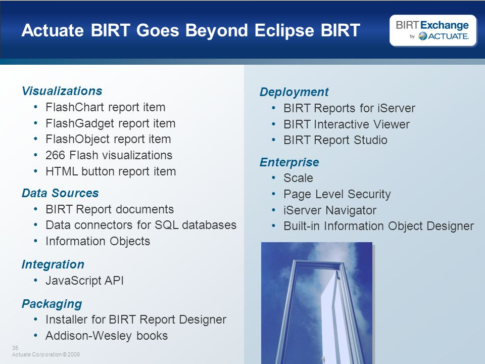Actuate BIRT Goes Beyond Eclipse BIRT