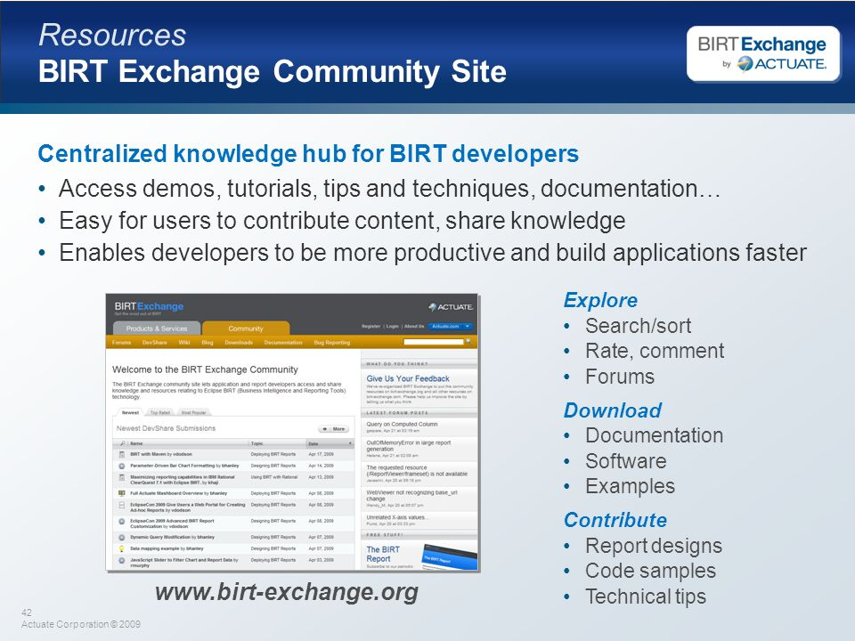 Resources BIRT Exchange Community Site