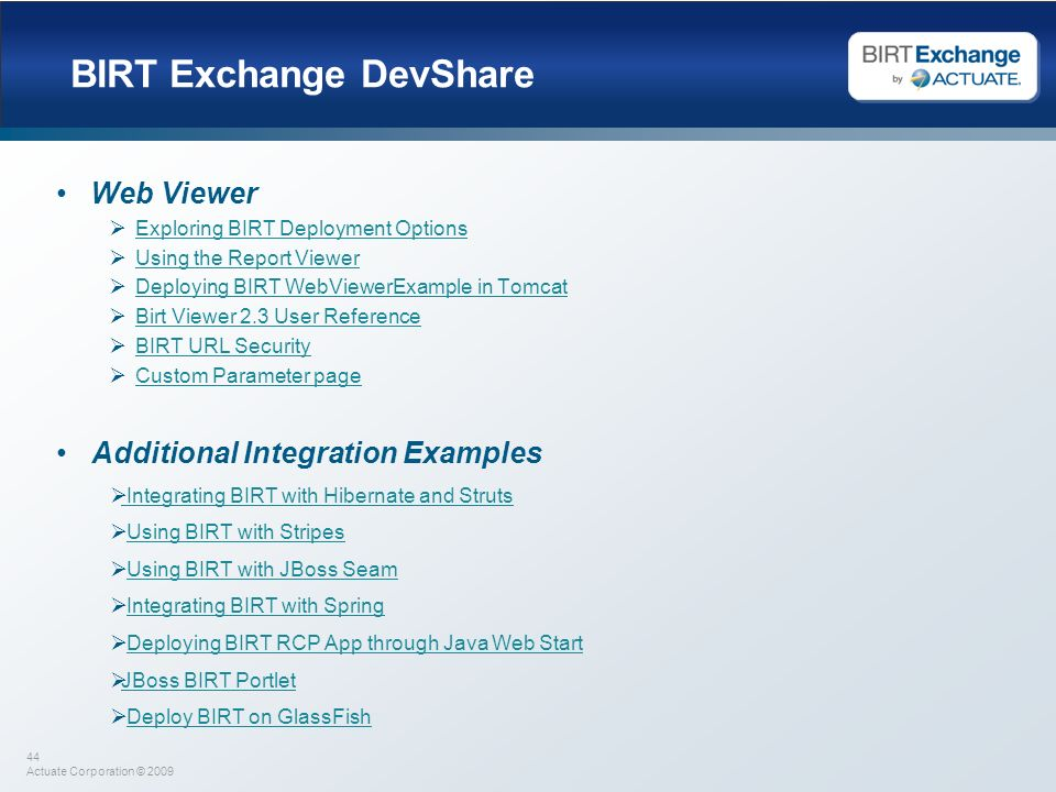 BIRT Exchange DevShare