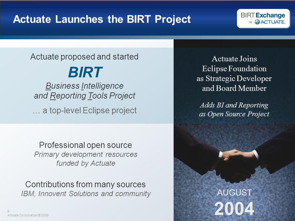 Actuate Launches the BIRT Project