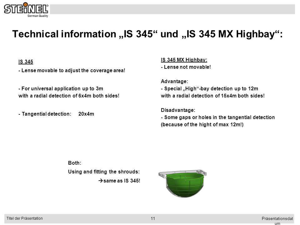 "Technical information ""IS 345 und ""IS 345 MX Highbay :"