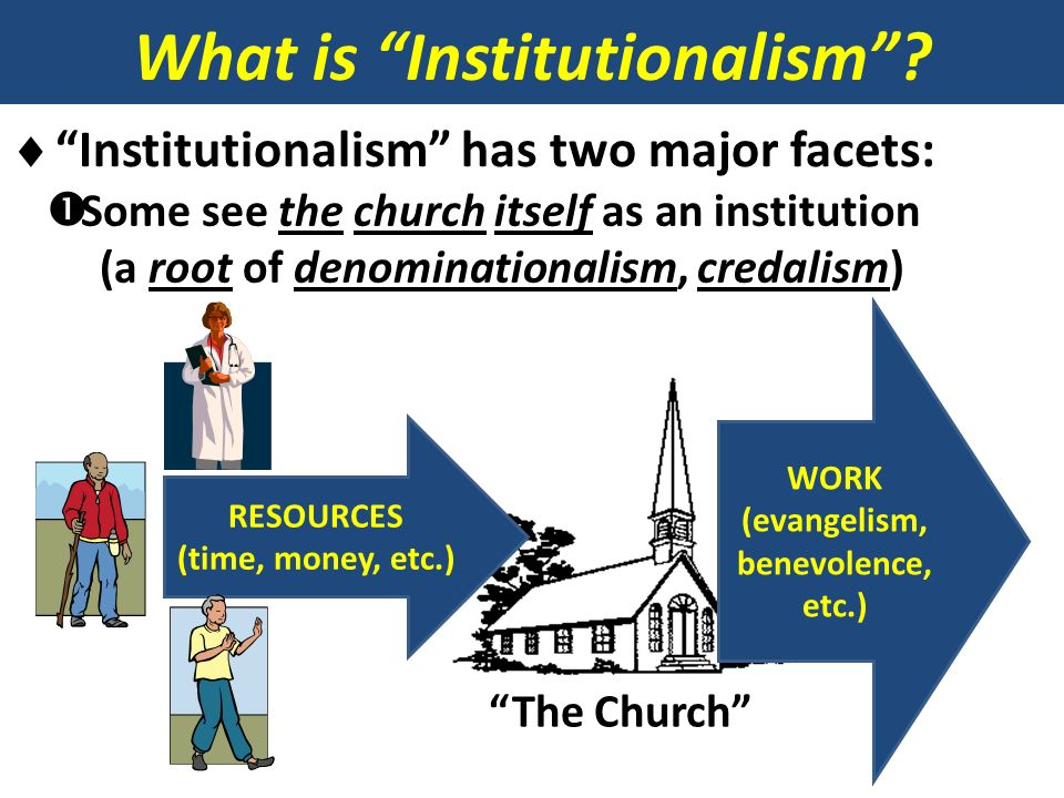 What is Institutionalism (evangelism, benevolence, etc.)
