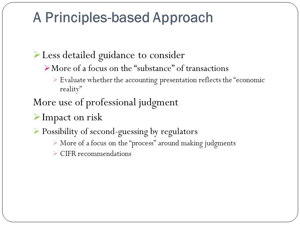 A Principles-based Approach