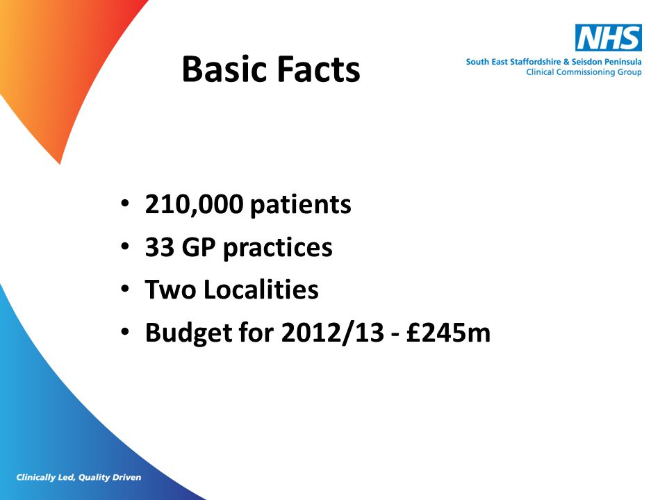 Basic Facts 210,000 patients 33 GP practices Two Localities