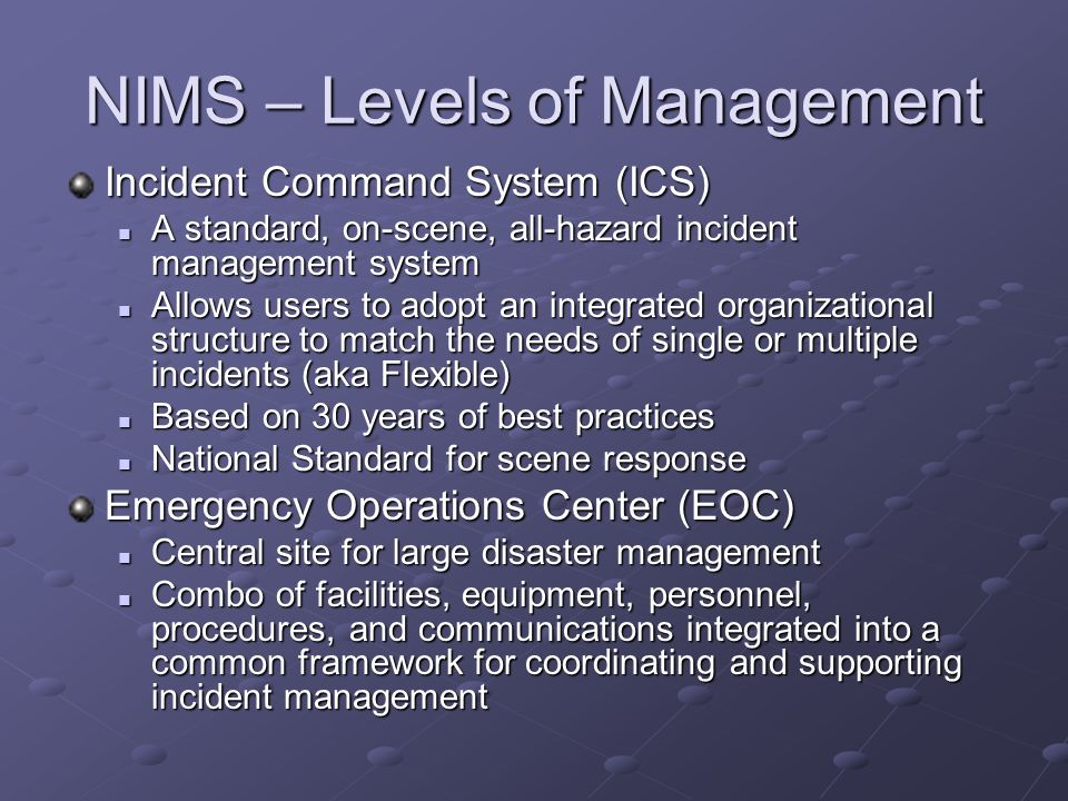 NIMS – Levels of Management