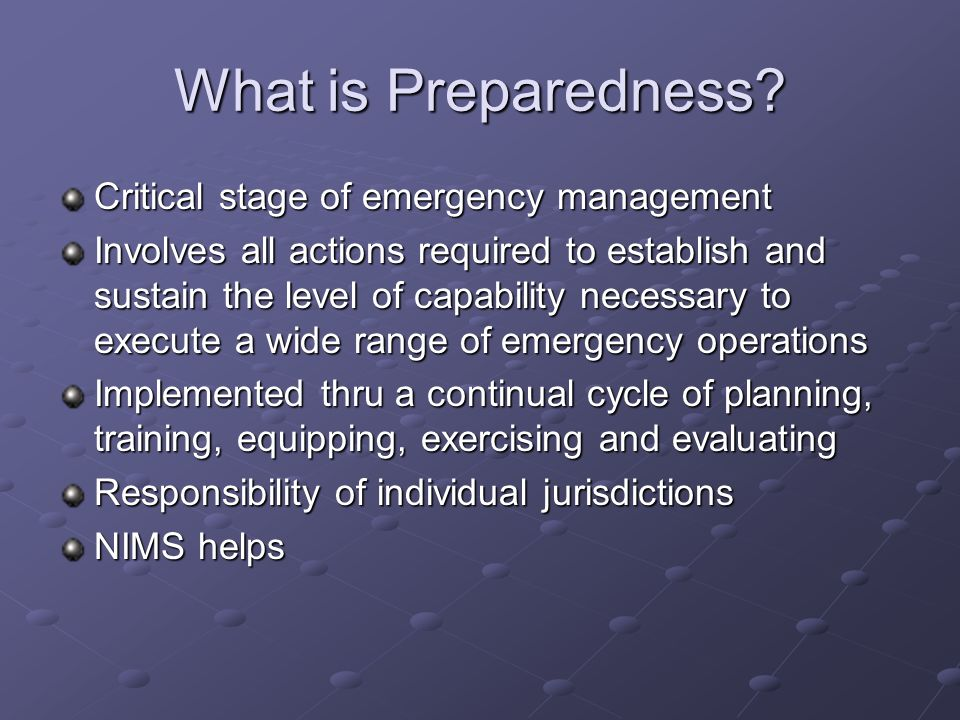 What is Preparedness Critical stage of emergency management