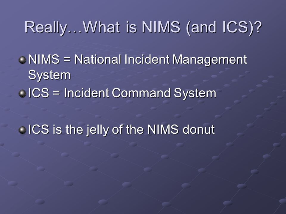 Really…What is NIMS (and ICS)