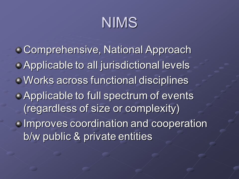 NIMS Comprehensive, National Approach