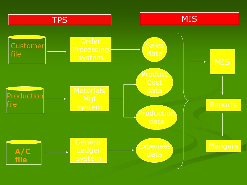 MIS TPS MIS Order Processing system Sales data Customer file Product