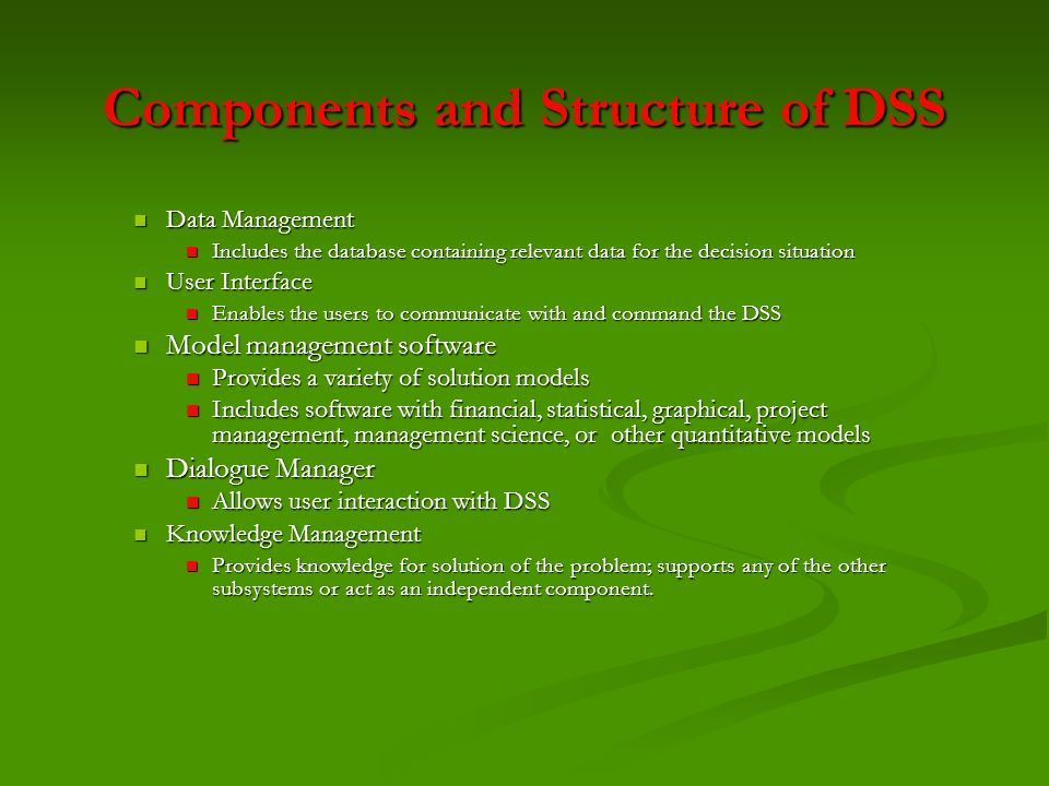 Components and Structure of DSS