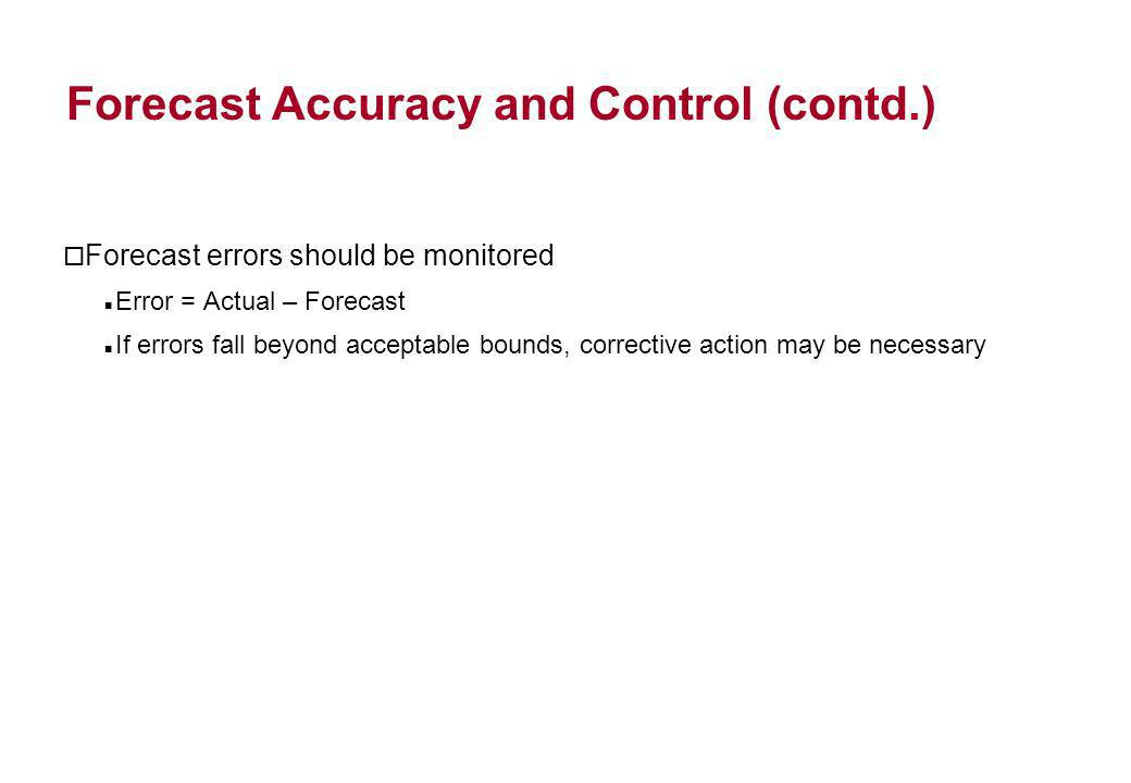 Forecast Accuracy and Control (contd.)