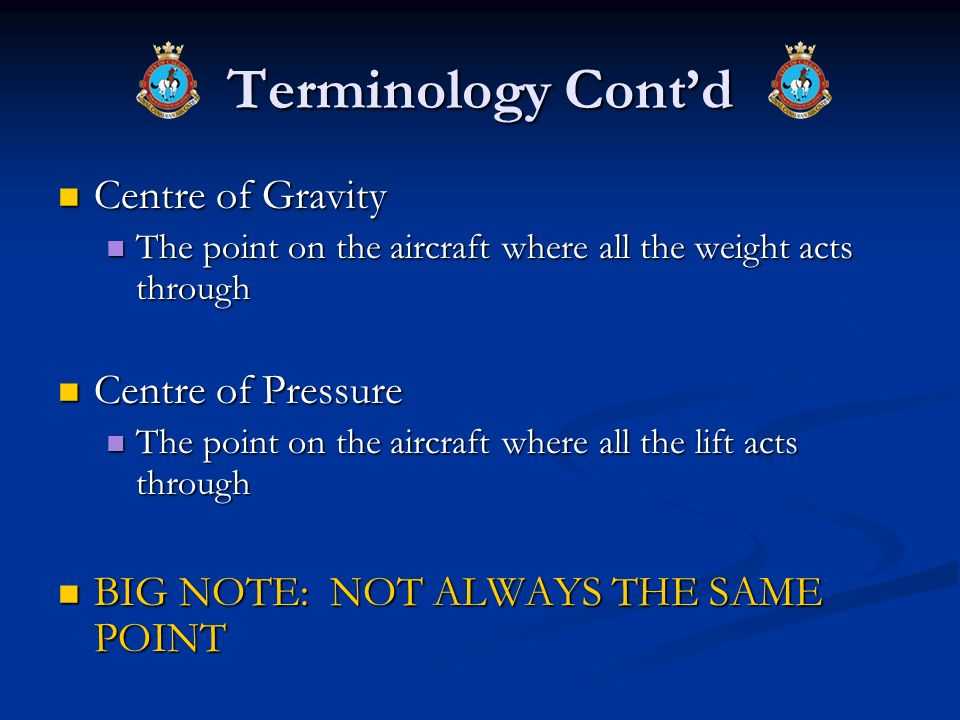 Terminology Cont'd Centre of Gravity Centre of Pressure