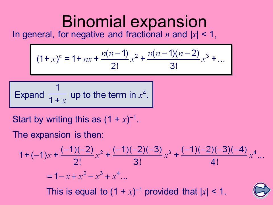 binomial expansion formula for negative power pdf