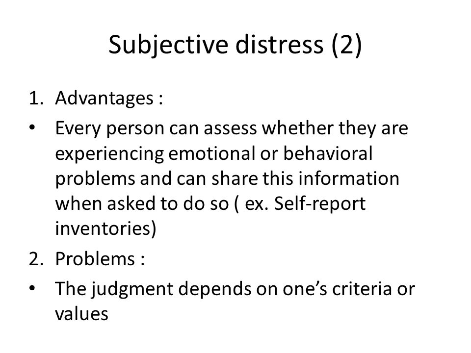 Subjective distress (2)